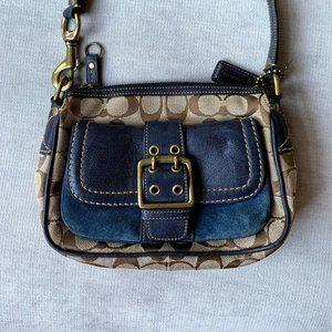 "Coach signature ""C"" logo leather and suede handbag"